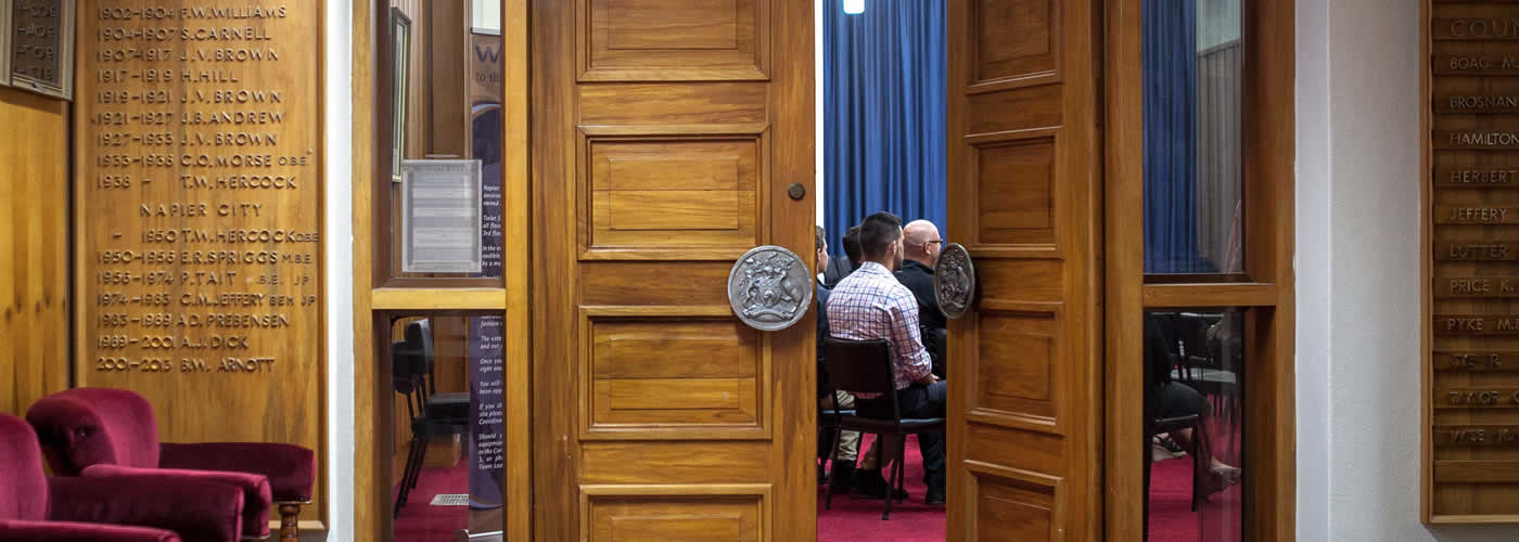 door at council chambers