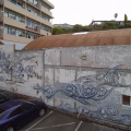 Mural addressing plastic pollution affecting sea turtles by Phibs.