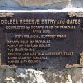 Plaque on the gates to Dolbel Reserve.
