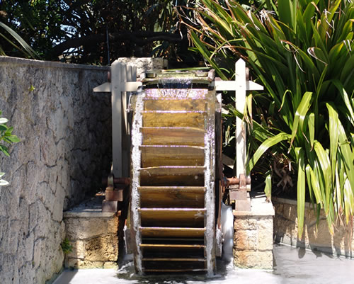 The Sunken Garden Waterwheel From The Front.