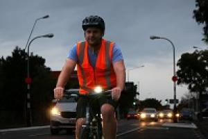 iWay Be Safe Be Seen Campaign Cyclist Riding at Night